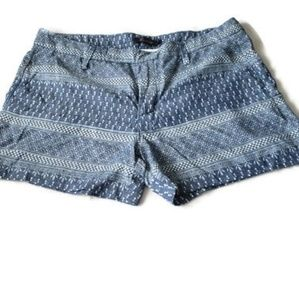Anthropologie Level 99 Chambray Printed Shorts